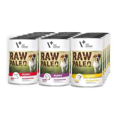 VetExpert Raw Paleo Puppy Starter Kit – Premium getreidefreies Hundefutter, für Hunde mit Getreideunverträglichkeiten oder Getreideallergien, Hundefutter ohne Getreide, Verträgliche Hundenahrung mit geringem Allergiepotenzial, für ernährungssensible Hunde aller Rassen, Vollwertig. Hypoallergen, Mit max. Fleischanteil und natürlichen Zutaten, Viel frisches Fleisch und wertvolle Zutaten.