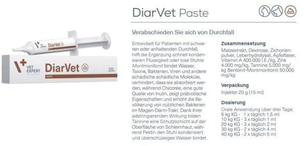 Durchfall - Nahrungsergänzung VETEXPERT DiarVet