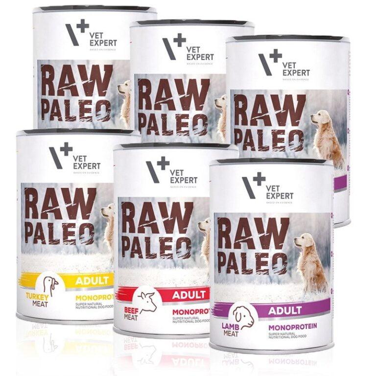 VetExpert Raw Paleo Adult Starter Kit – Premium getreidefreies Hundefutter, für Hunde mit Getreideunverträglichkeiten oder Getreideallergien, Hundefutter ohne Getreide, Verträgliche Hundenahrung mit geringem Allergiepotenzial, für ernährungssensible Hunde aller Rassen, Vollwertig. Hypoallergen, Mit max. Fleischanteil und natürlichen Zutaten, Viel frisches Fleisch und wertvolle Zutaten.