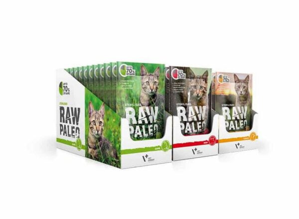 VetExpert Katzen-Nassfutter Raw Paleo Sterilised Wild – Futter für kastrierte & sterilisierte Katzen, Premium getreidefreies Katzenfutter , für Katzen mit Getreideunverträglichkeiten oder Getreideallergien, Katzenfutter ohne Getreide, Verträgliche Katzennahrung mit geringem Allergiepotenzial, für ernährungssensible Katzen aller Rassen, Vollwertig. Hypoallergen, Mit max. Fleischanteil und natürlichen Zutaten, Viel frisches Fleisch und wertvolle Zutaten.