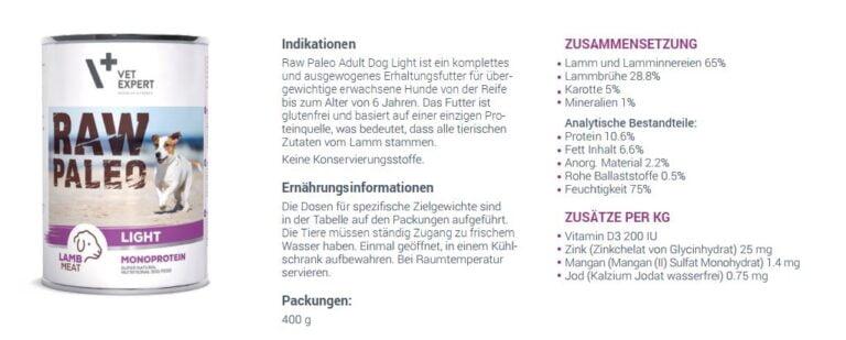 VETEXPERT Raw Paleo Adult Light Lamm Hundefutter