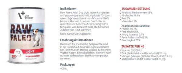 VETEXPERT Raw Paleo Adult Light Rind Hundefutter